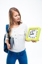 Female student with backpack and book Royalty Free Stock Photo