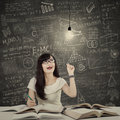 Female student getting bright inspiration 1 Royalty Free Stock Photo