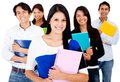 Female student with a group Stock Photography