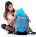 Female student with her bag Royalty Free Stock Photo
