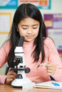 Female Student With Microscope In Science Class Royalty Free Stock Photo