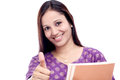 Female student showing thumbs up Royalty Free Stock Image