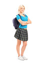 Female student standing with crossed h Royalty Free Stock Photo