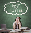 Female student and text of back to school Royalty Free Stock Photo