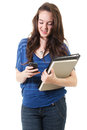 Female student texting stock image of casual isolated on white background Royalty Free Stock Photo