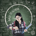Female student with time of back to school Royalty Free Stock Photo
