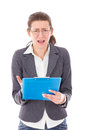 Female student worried about exams pretty with glasses Royalty Free Stock Images