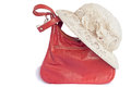 Female summer hat for protection against the sun and a bag on a Royalty Free Stock Photo