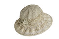 Female summer hat for protection against the sun on a white back Royalty Free Stock Photo