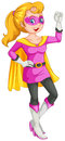 A female superhero with a cape illustration of on white background Royalty Free Stock Images
