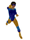 Female superhero in shiny blue and yellow costume Stock Images