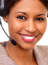Female support line operator with headset Royalty Free Stock Image