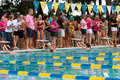 Female Swimmers About To Start Backstroke In Meet Stock Image