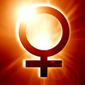 Female symbol on a soft red background Royalty Free Stock Photos