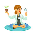 Female teacher or scientist examining a plant through a magnifying glass cartoon vector Illustration Royalty Free Stock Photo