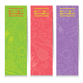Female Tennis Gears Set Of Three Abstract Colorful Vertical Banners Royalty Free Stock Photo