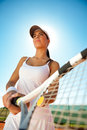 Female tennis player outdoor woman in sportswear playing competition Royalty Free Stock Image