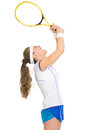 Female tennis player rejoicing in success Stock Photo