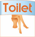Female toilet sign abstract with bare legs of woman sitting on Stock Photography