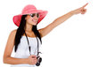 Female tourist pointing Royalty Free Stock Photos