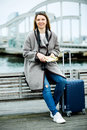 Female tourist standing at pier Royalty Free Stock Photo