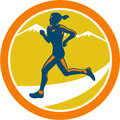 Female triathlete runner running retro illustration of marathon winning finishing race set inside circle on isolated background Stock Photo