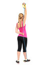 Female triceps extention exercise using rubber resistance band position of Stock Photography