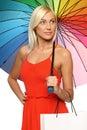 Female under umbrella holding shopping bag Stock Images