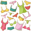 Female Underwear Icons Set Stock Image