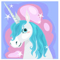 Female unicorn with blue mane