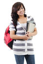 Female university student stock image of college isolated on white background Royalty Free Stock Photography