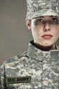 Female us army soldier a studio portrait Royalty Free Stock Images