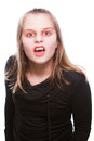 Female vampire with red eyes an white skin Royalty Free Stock Photos
