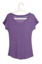 Female violet tee shirt is on hanger Royalty Free Stock Photo