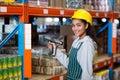 Female warehouse worker using digital equipment Royalty Free Stock Photo