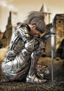 Female warrior knight kneeling wearing decorative metal armor with a castle in the background.