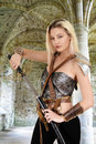 Female warrior with stone arch Royalty Free Stock Photo