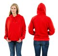 Female wearing blank red hoodie photo of a teenage with long blond hair posing with a front and back views ready for your artwork Royalty Free Stock Photo
