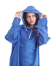 Female wearing raincoat Royalty Free Stock Photos