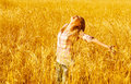 Female on wheat field Stock Image