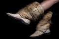 Female winter shoes made of fur on black background Royalty Free Stock Images