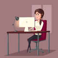 Female or woman at computer in room or home. Girl sitting on chair and working or web surfing in front of LCD display Royalty Free Stock Photo