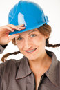 Female worker hardhat close up of with and braces smiling studio on white Royalty Free Stock Photos