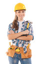 Female worker holding hammer isolated wearing working clothes with tools on white background Stock Images