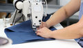 Female worker on textile production industry Royalty Free Stock Photo