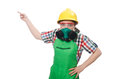 The female worker wearing coverall and gas mask Royalty Free Stock Photo