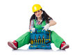 The female workman in green overalls isolated on Royalty Free Stock Photo