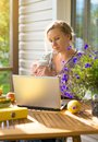 Female writer working. Royalty Free Stock Photo