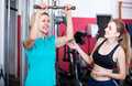 Females of different age strength training in gym happy russian for women Royalty Free Stock Image
