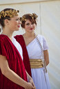 Females models dressed in ancient Roman costumes Stock Photos
